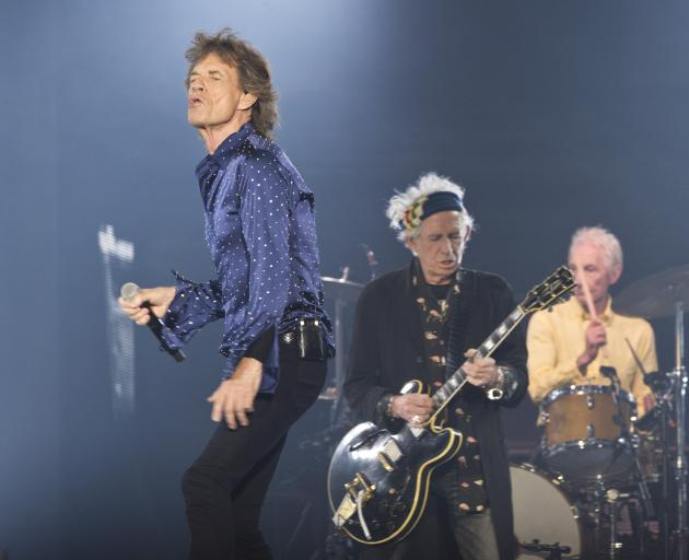 """From left"""" Mick Jagger, Keith Richards and Charlie Watts performing in Barcelona. Photo: Getty..."""