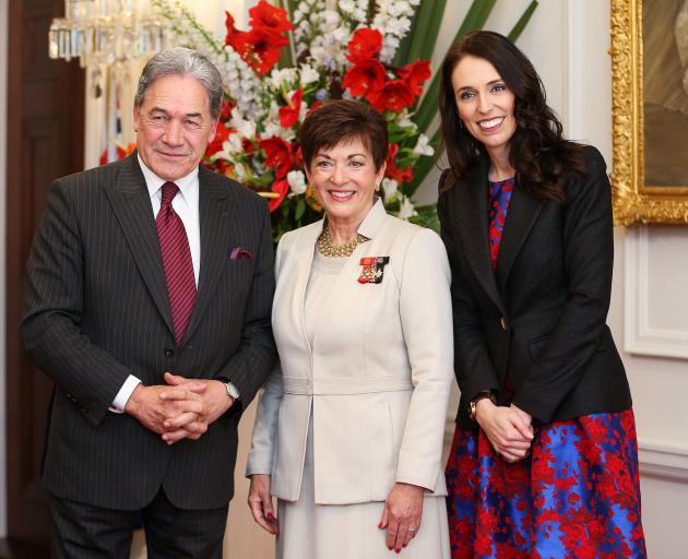 Prime Minister Jacinda Ardern (right), deputy Winston Peters and Governor-General Dame Patsy Reddy at Government House today. Photo: Getty Images