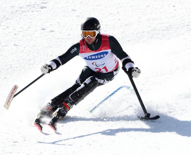 Adam Hall competing in the men's slalom. Photo: Getty Images