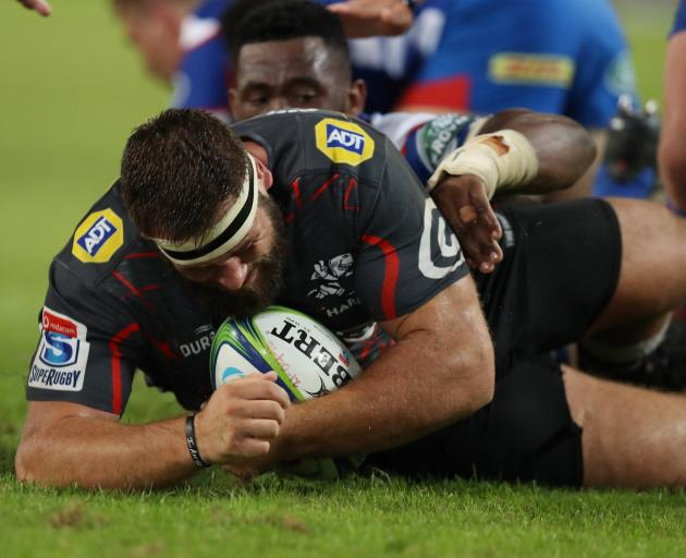 Thomas du Toit scores for the Sharks in Durban. Photo: Getty Images