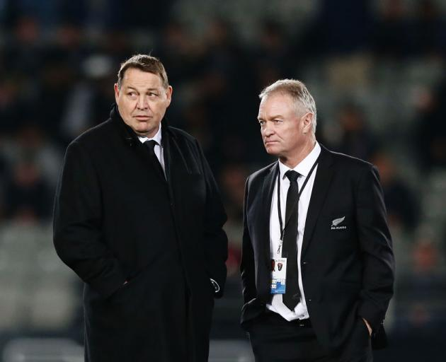 All Blacks head coach Steve Hansen (left) and selector Grant Fox. Photo: Getty Images