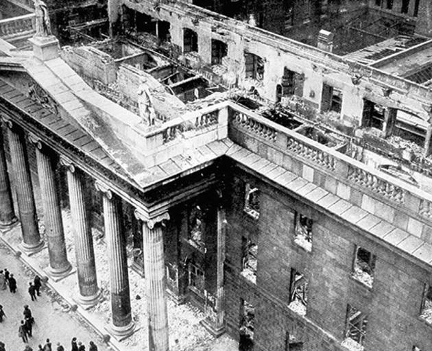 The ruins of the Dublin General Post Office after the Easter Rising.