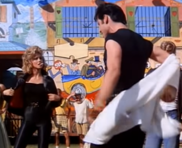 Olivia Newton John as the transformed Sandy in Grease with John Travolta. Photo: YouTube