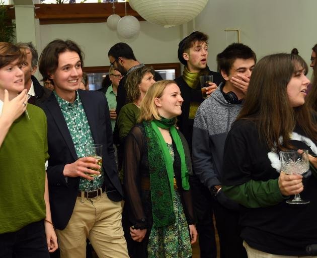 Green Party supporters at the Kind Kitchen in Dunedin earlier tonight. Photo: Stephen Jaquiery