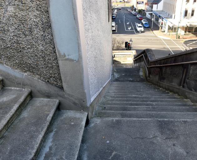 The Dowling St steps shortcut down to Princes St. Photo: Peter McIntosh