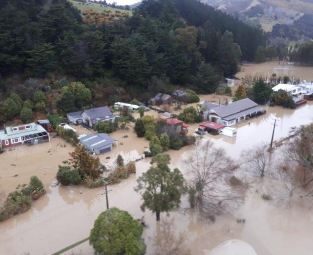 The flooded Henley township. Photo: Otago Regional Council
