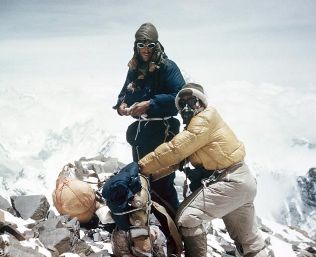 Ed Hillary (left) and Tenzing Norgay prepare to leave basecamp. Photo: Rupert Taylor-Price