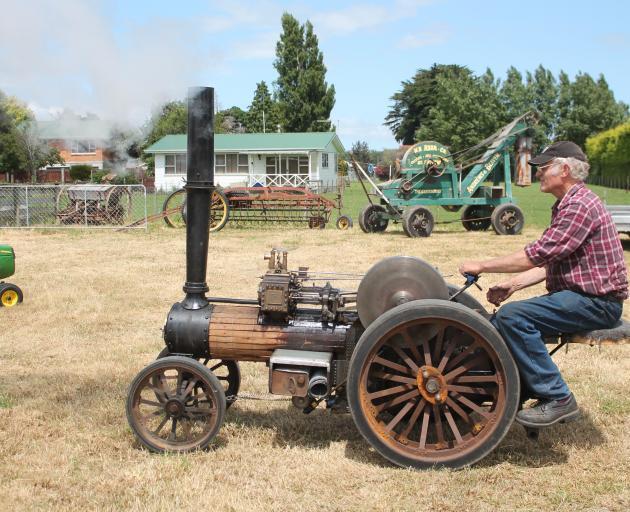 Owen Bennett drives his Burrell traction engine.