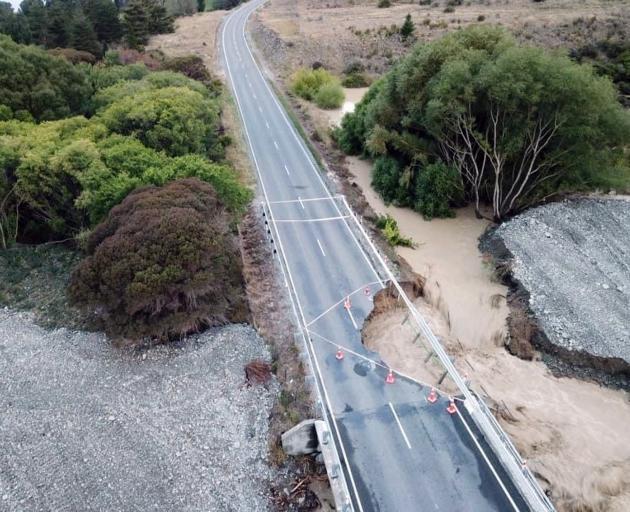 The washout of the Parsons Creek Bridge on SH83 near Otematata. PHOTO: BRETT SMITH