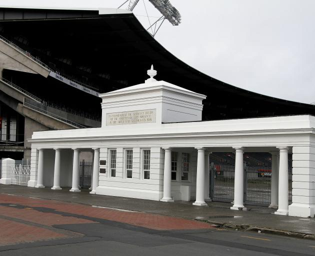 Lancaster Park's memorial gates in 2012. Photo: Supplied