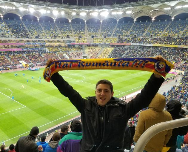 Andrei Moore at a Romania v Netherlands football match.