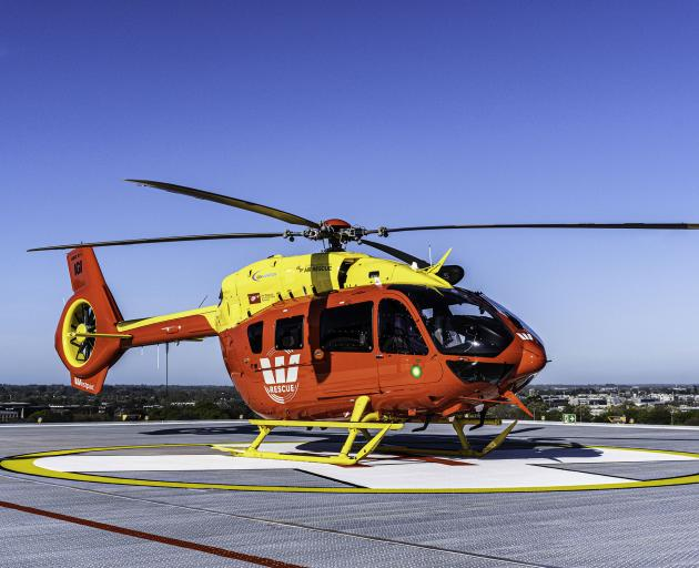The Westpac H145 Rescue helicopter landing on the new Christchurch Hospital helipad. Photo: Supplied