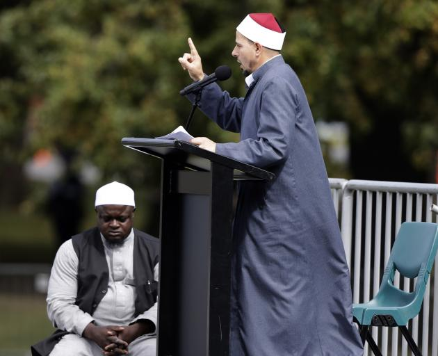 The Al Noor mosque's imam, Gamal Fouda, thanked New Zealanders for their support. Photo: AP