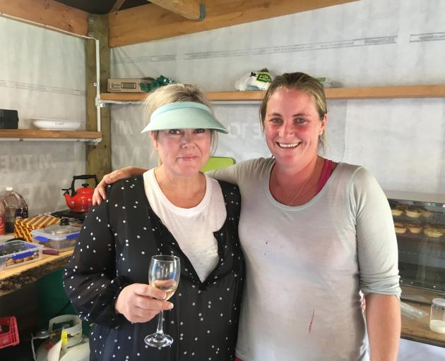 Vanessa Anderson (left) and Carla Hunter in the cookshop at the Omarama sheep dog trials. PHOTO:...