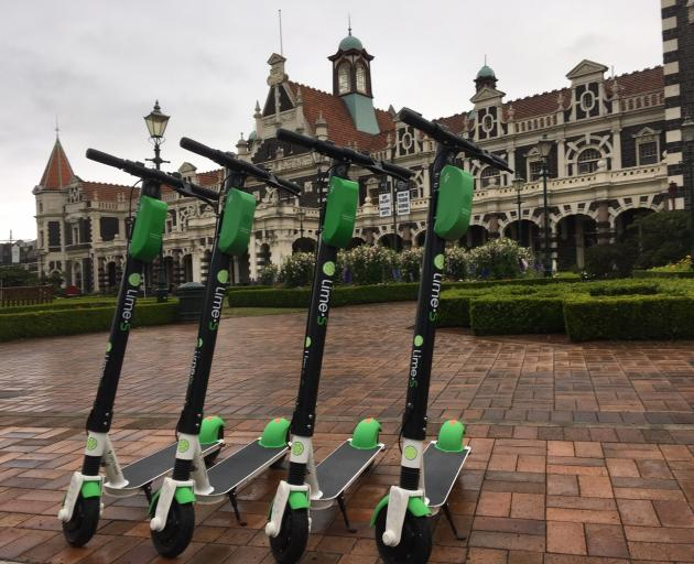 Lime Scooters parked in front of the Dunedin Railway Station on Thursday morning. Photo: ODT