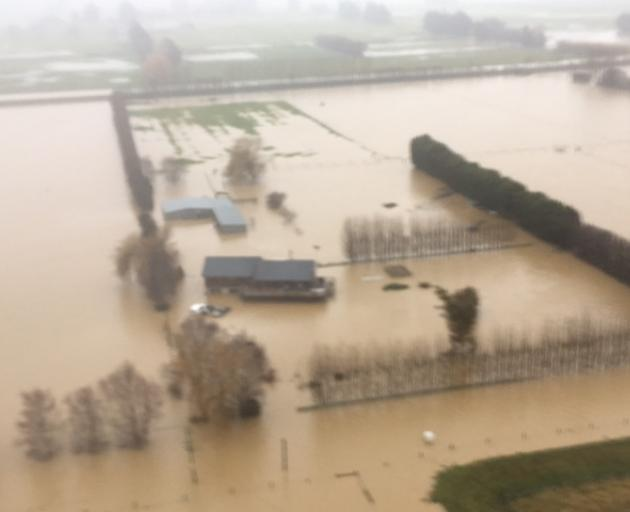 Flooding in Taieri this morning. Photo: Stephen Jaquiery