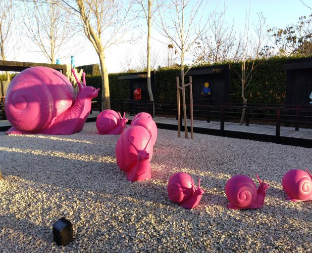 The infamous pink snails by The Cracking Art Group, of Milan. Photo: Rebecca Fox
