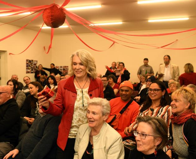 Ingrid Leary is surrounded by her supporters in the newly formed electorate of Taieri tonight....