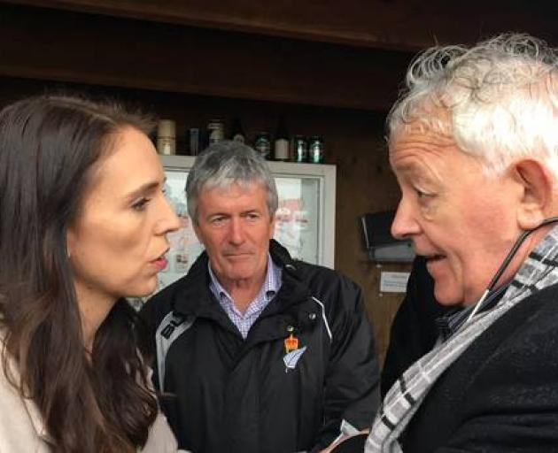 Bernie Monk (right) with Prime Minister Jacinda Ardern and West Coast-Tasman MP Damien O'Connor....