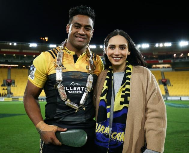 Julian Savea and wife Fatima at a Hurricanes Super Rugby match in 2017. Photo: Getty Images