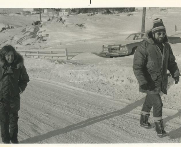 Pat Langhorne (left) with fellow scientist and supervisor the late Jamie Rossiter, during sea-ice...