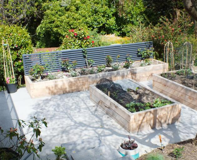Recent developments in the rear garden include raised beds for roses and vegetables.
