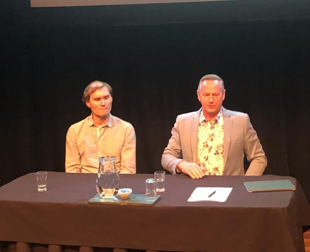 Dawn Aerospace general manager James Powell (left) and Waitaki Mayor Gary Kircher. Photo: Craig...