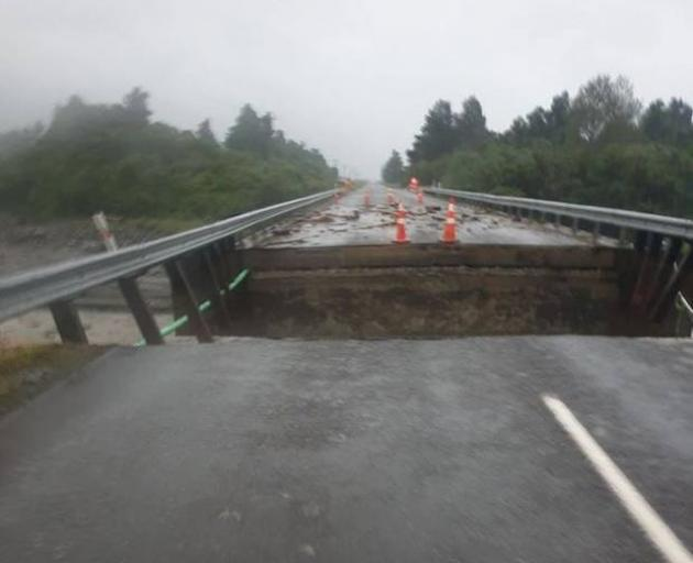 Damage to the Little Man Bridge on State Highway 6 at the weekend. Photo: NZTA