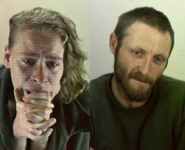 Aleisha Cherie Dawson and John Kenneth Collins via video link today. Images: Gerard O'Brien