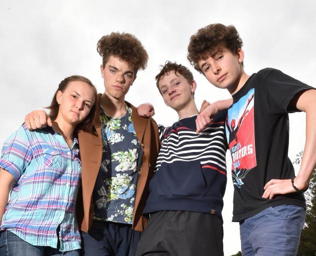 Dunedin School Strike 4 Climate organisers from left: Linea Simons, Abe Baillie (both 16), Finn...