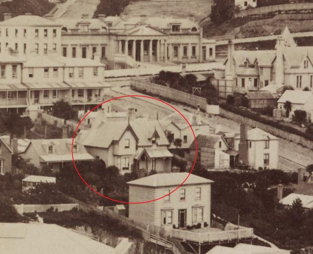 The house (circled) on its original site near the top of View St in 1874. The classical structure...