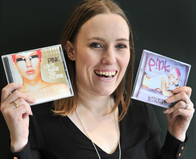 Mandie Watson with two of her favourite Pink albums. Photo: Christine O'Connor