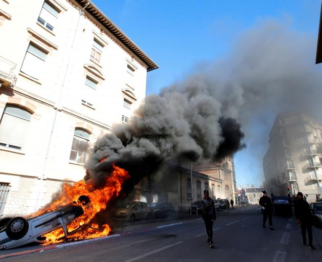 Youths and high-school students clashed with police during a demonstration in Marseille on...