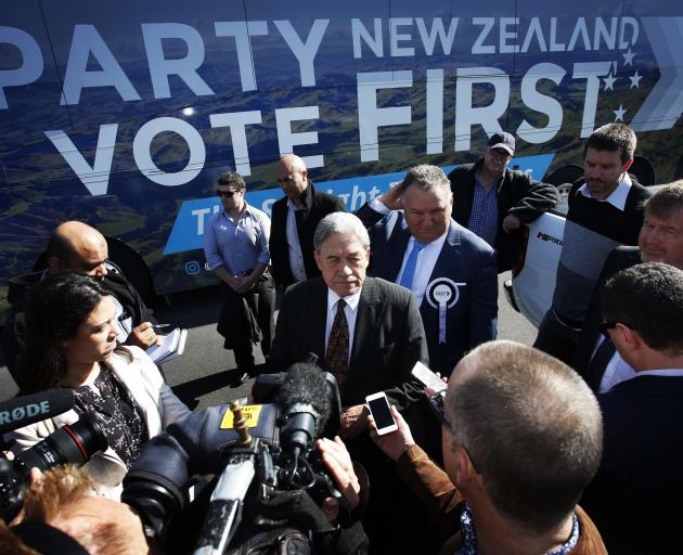 Winston Peters at the Northland Club, Porowini Ave, speaks to media and Northland Forestry representatives. PHOTO: THE NORTHERN ADVOCATE