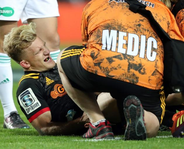 Damian McKenzie suffered the injury early in the second half against the Blues. Photo: Getty Images