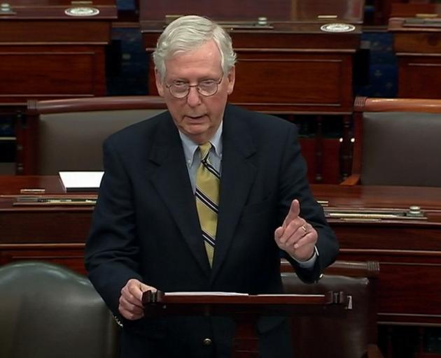 US Senate Minority Leader Mitch McConnell. Photo: US Senate TV via Reuters