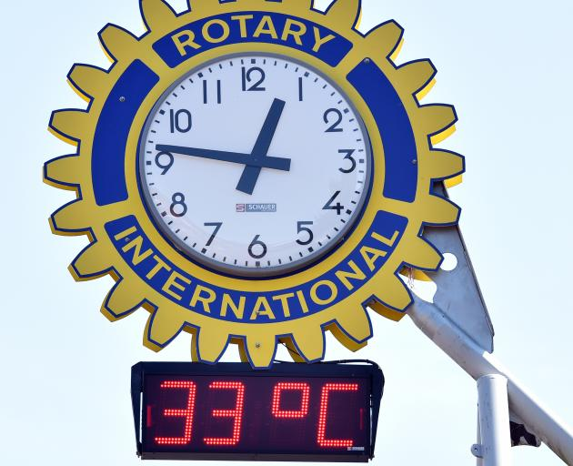 The Rotary clock at Mosgiel this afternoon. Photo: Peter McIntosh