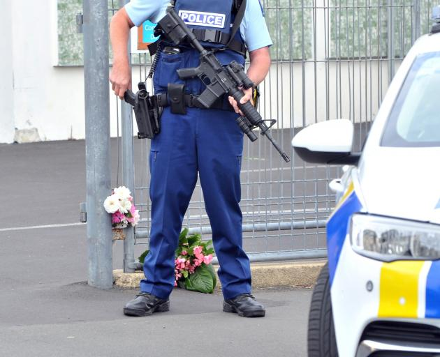 Flowers have been placed at the mosque in Clyde St in Dunedin. Photo: Christine O'Connor