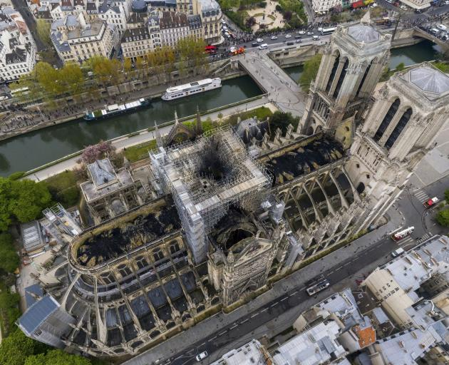 This photo shows the extent of the fire damage to Notre Dame. Photo: Gigarama.ru via AP