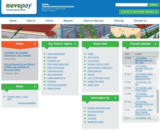 The Novopay teacher pay system. Photo: screenshot via RNZ