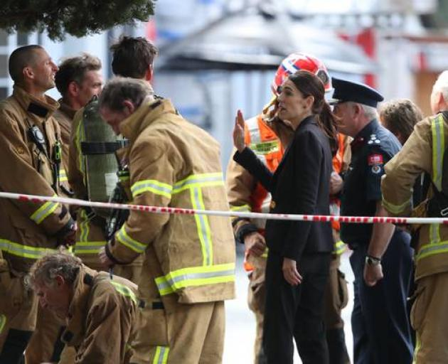 Prime Minister Jacinda Ardern met with fire crews at the SkyCity site this afternoon. Photo: NZ...