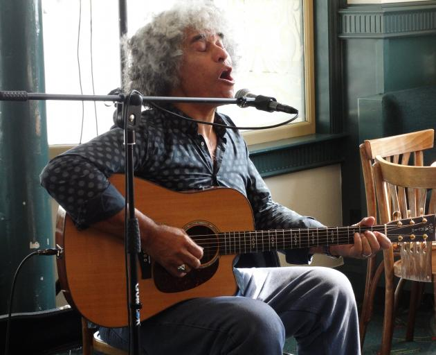 Paul Ubana Jones performs at the Brydone Hotel, in Oamaru, yesterday as part of the Harbour St...