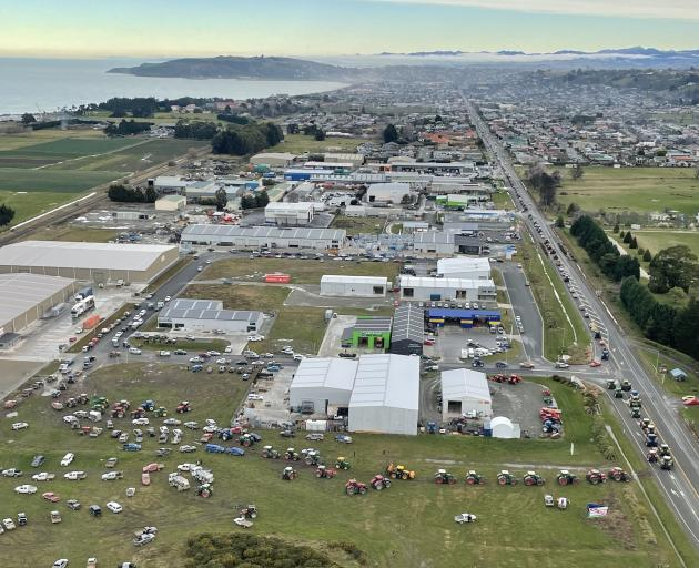 Oamaru protesters head out onto State Hwy 1 from the North End Business Park. Photo: SUPPLIED...