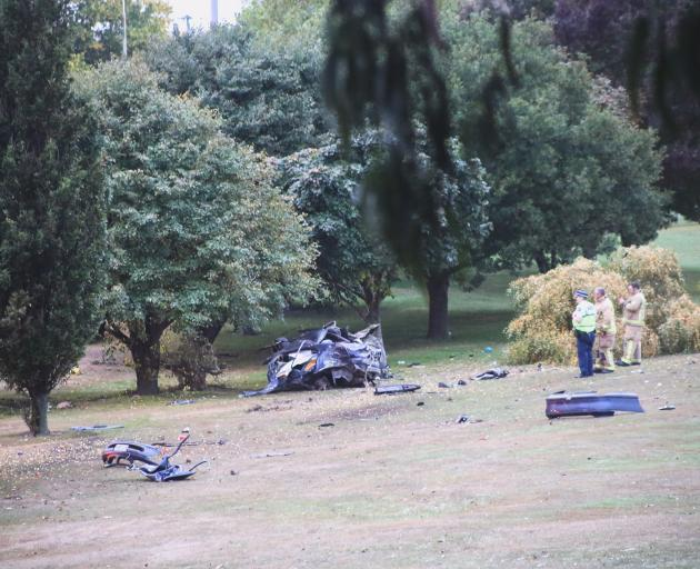 The aftermath of the fatal crash in Oamaru.