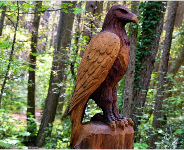 A giant falcon presides over the Forest Amble walkway.