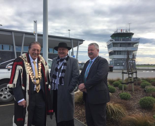 Invercargill Mayor Sir Tim Shadbolt (from left), Regional Economic Development Minister Shane...