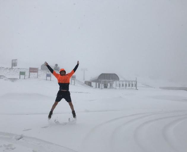 Cardrona staffer Kay Gall decided despite the snow it was still a shorts day. Photo: supplied