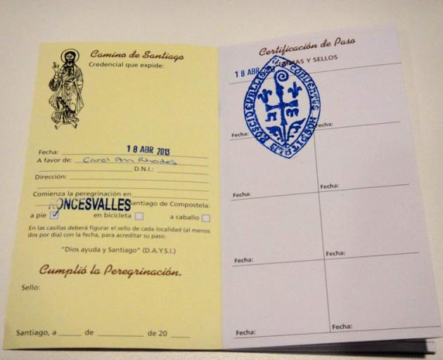 Sue Duthrie's Camino passport with its first stamp; proof of which stages of the pilgrimage were...