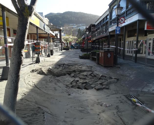 The site of the burst water main in Queenstown Mall. Photo: Paul Taylor