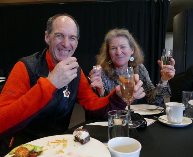Gary Dickson and wife Iris Abaecherli toast the honour.
